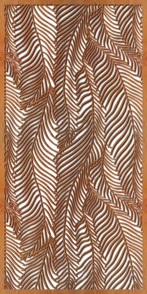 Wispy Palms Laser Cut Wooden Privacy Panel