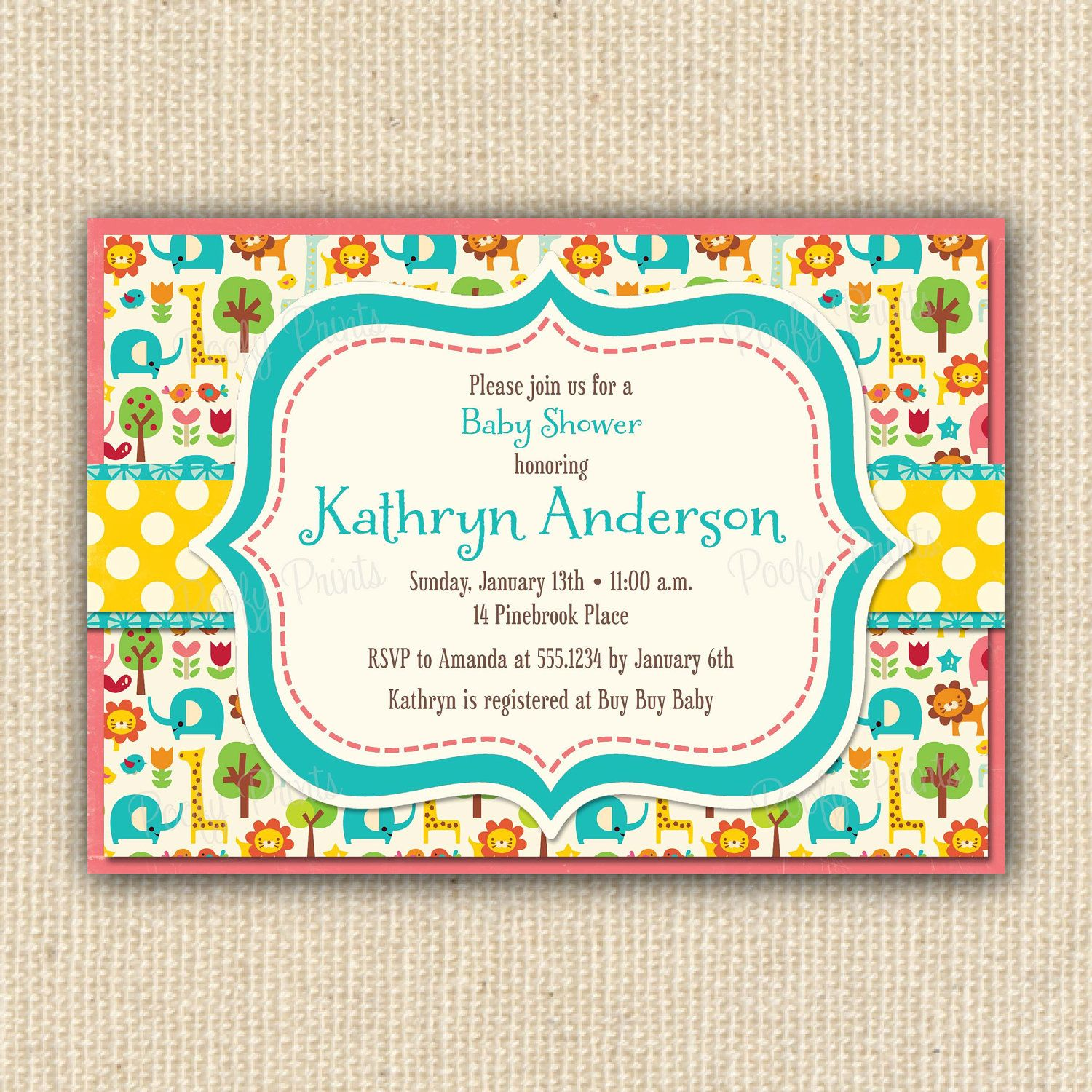 Zoo Animals Baby Shower Invitations Diy Printable By