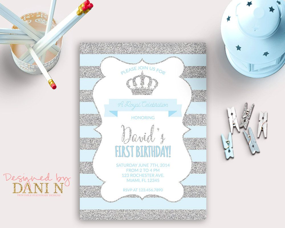 Little Prince Birthday INVITATION, silver glitter party, crown blue ...