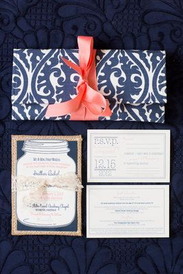 Lovely #Preppy #navy #coral Wedding Invitation Suite (Photo By Abby Grace  Photography)