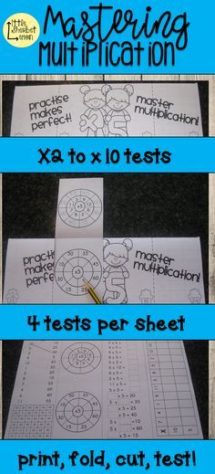 Mastering Multiplication - times tables printable and foldable tests - multiplication table