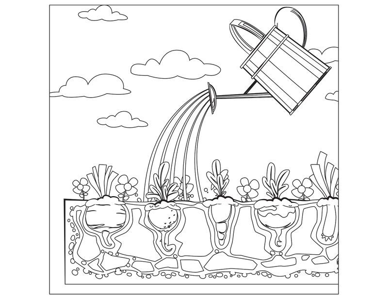 Watering Can Vegetable Garden Coloring Page Garden Coloring Pages Flower Coloring Pages New Year Coloring Pages