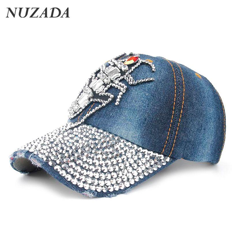 Brands NUZADA Women Girls Baseball Cap Bone Snapback Hip Hop Hats  Rhinestones Luxury Retro Fashion Trend 808f2579435d
