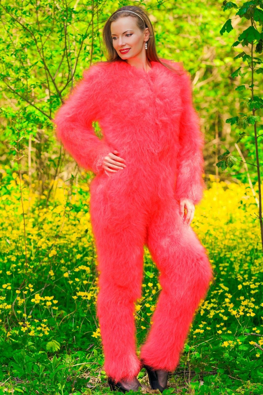 S M size Red fuzzy mohair bodysuit by SuperTanya on sale