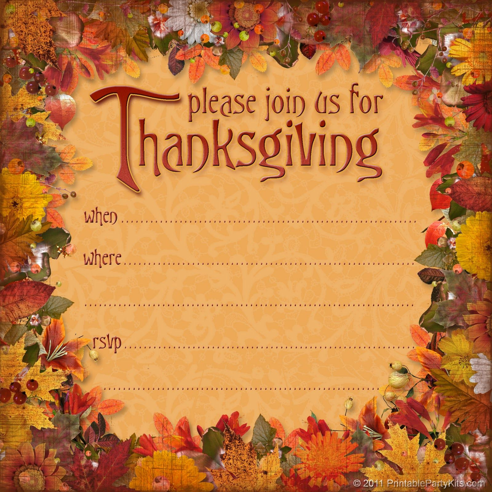 Free Thanksgiving Dinner Invitation Thanksgiving Pinterest