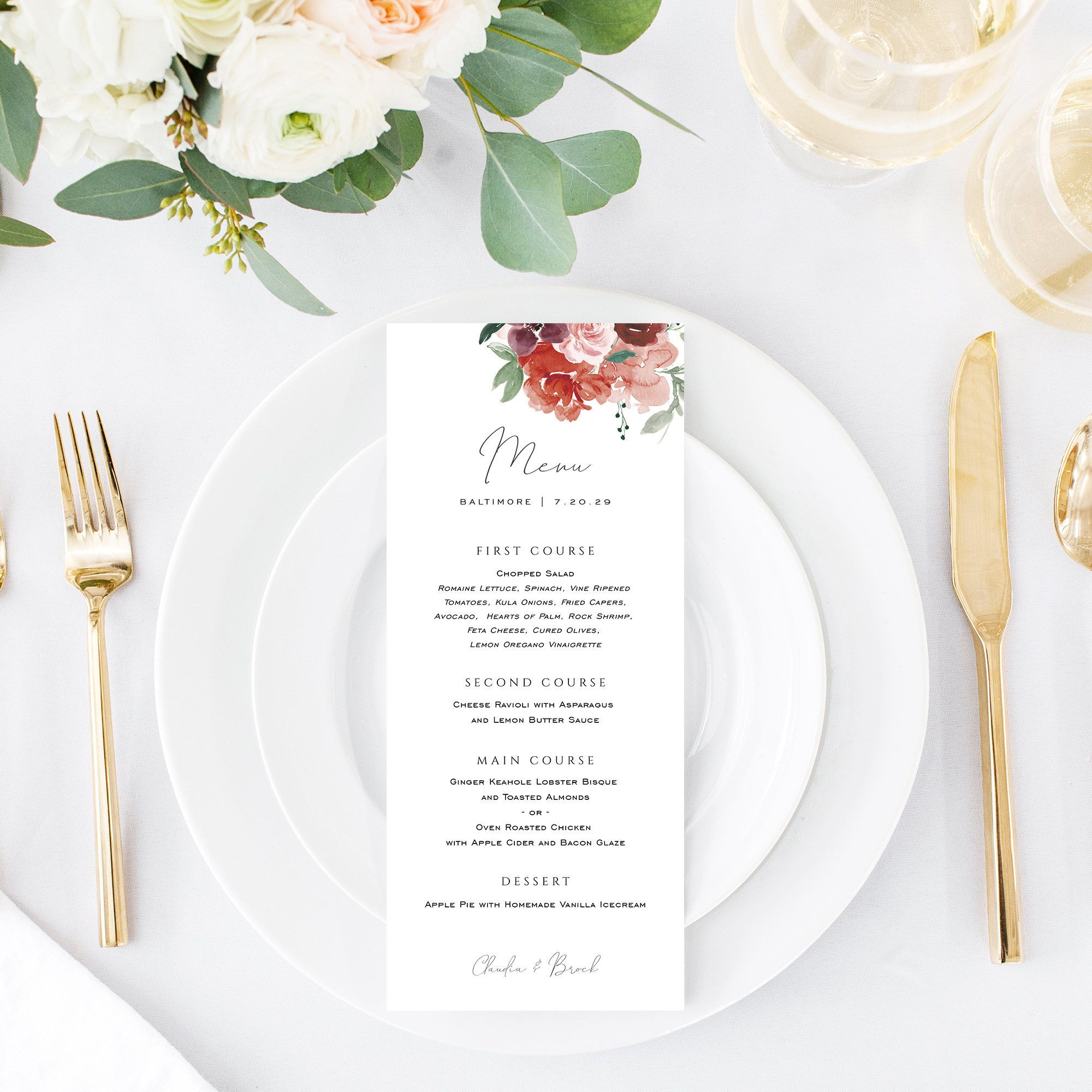 Red Botanical Dinner Menu Printable Wedding Menu Template Etsy In 2021 Printable Wedding Menu Wedding Menu Template Menu Card Template