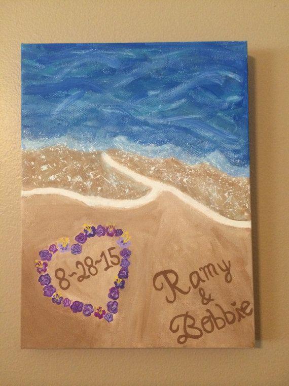 Custom Beach Canvas Painting Wedding Gift By CanvasCoutureByNessa