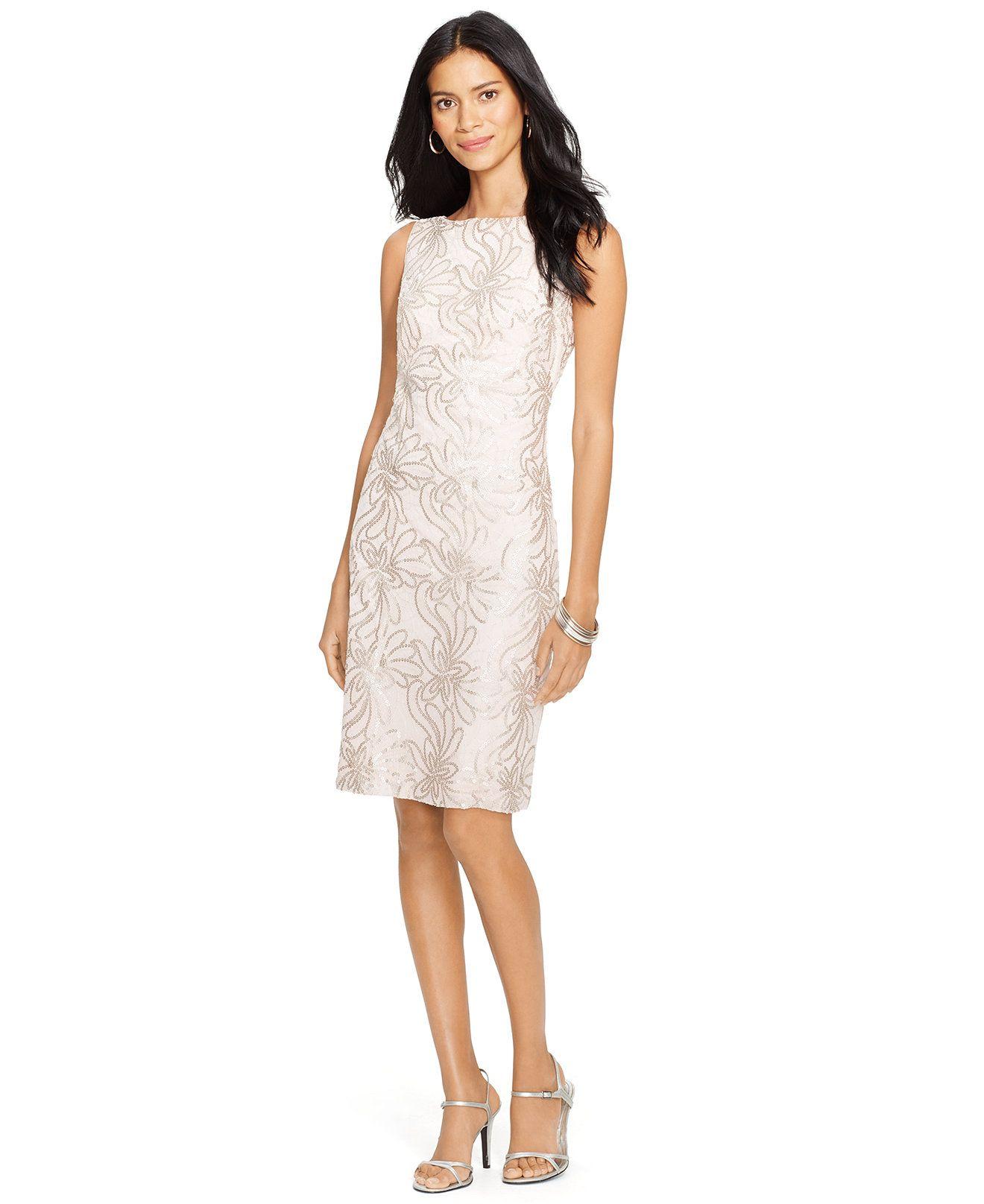 Lauren Ralph Lauren Floral-Print Sequined Dress - Dresses - Women - Macy\u0027s