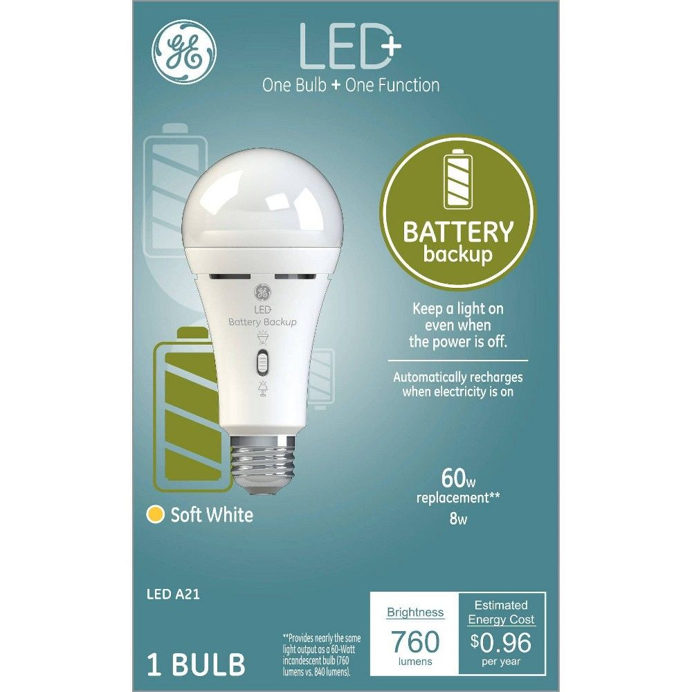 General Electric 60w 1pk A21 Battery Back Up Led Light Bulb Clear In 2020 Led Light Bulb Light Bulb Bulb