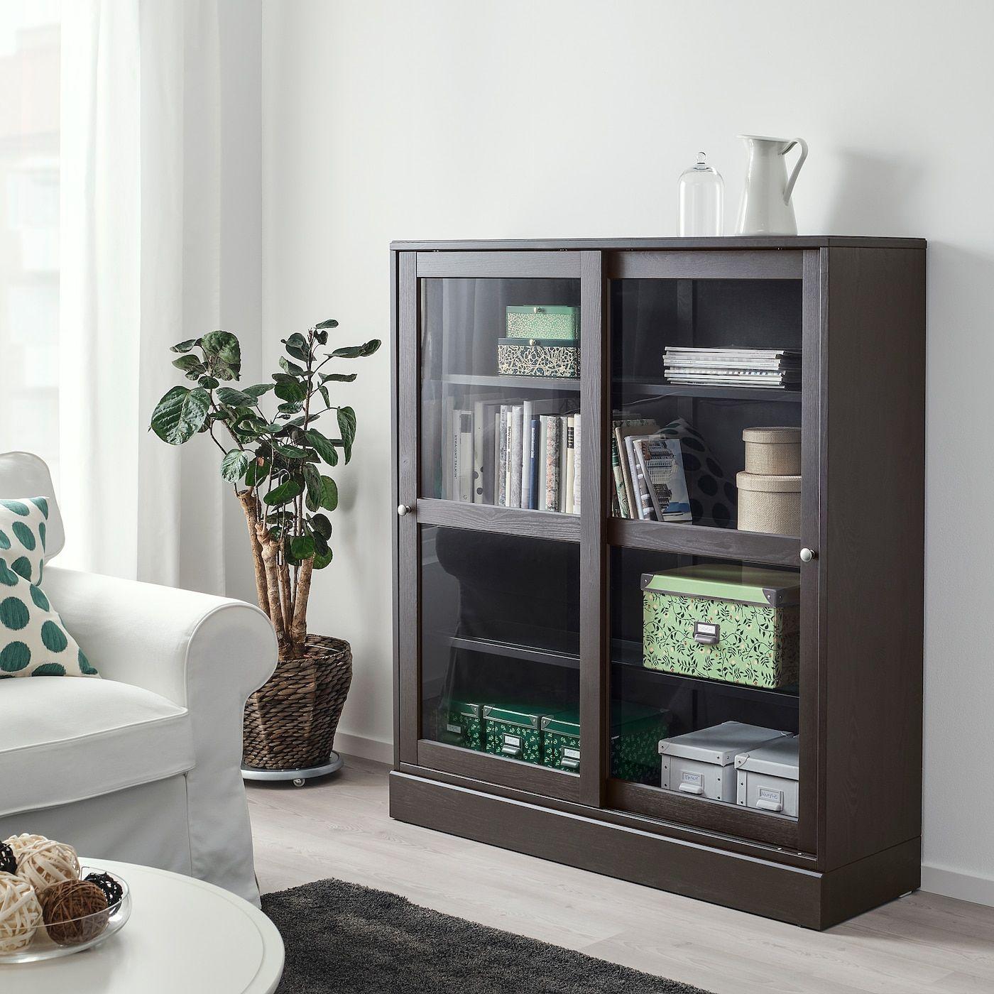 Havsta Glass Door Cabinet With Base Dark Brown Clear Glass Ikea Glasschranktüren Aufbewahrungsbox Mit Deckel Ikea