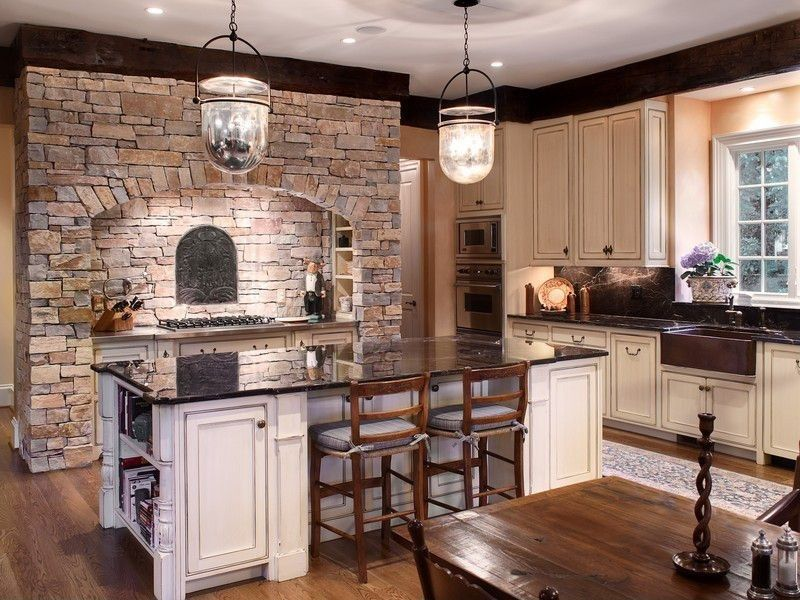 Country Kitchen with Kitchen island, Wood counters, wall