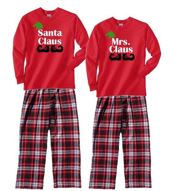 deb095f8772 Family Christmas Pajamas - Santa Claus   Mrs. Claus Personalized Holiday  Family PJs - Matching Famil