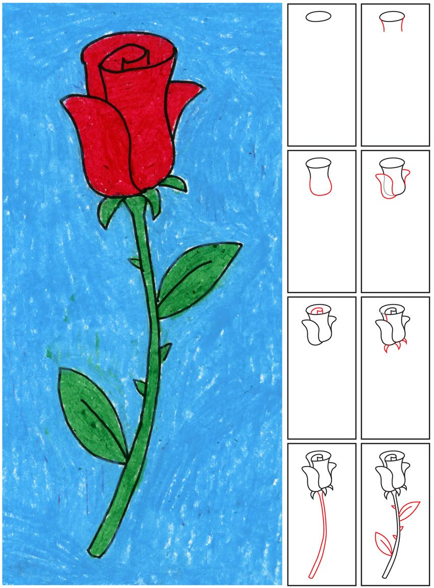 Draw an Easy Rose Art projects, Drawing for kids, Rose art