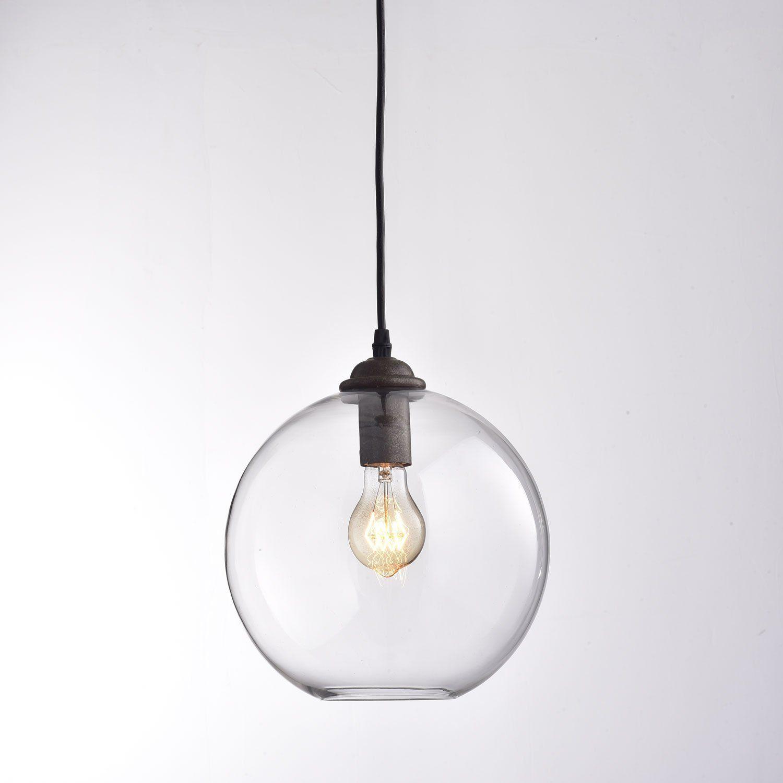 Claxy Suspension Salle A Manger Lustre En Verre Transparent Lampe Suspendu Rond Retro Industriel Sim Lustre En Verre Lampe Suspendue Ronde Suspension Luminaire