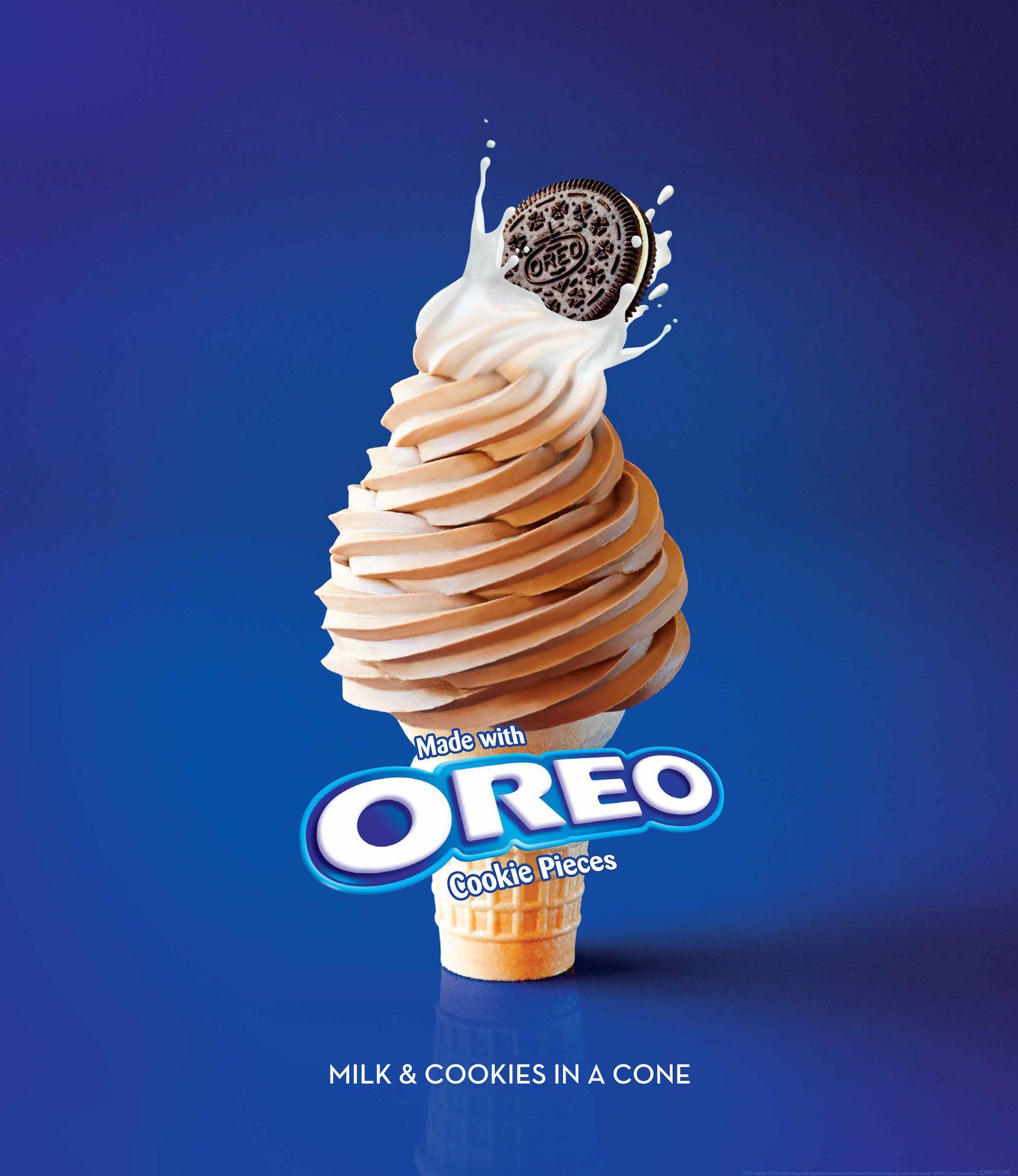 Carvel oreo ice cream cone oreo milk cookies oreo cookies