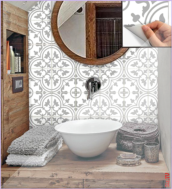 Tile Stickers Vinyl Decal WATERPROOF REMOVABLE for kitchen bath wall floor or stair M029 gray Tile S...