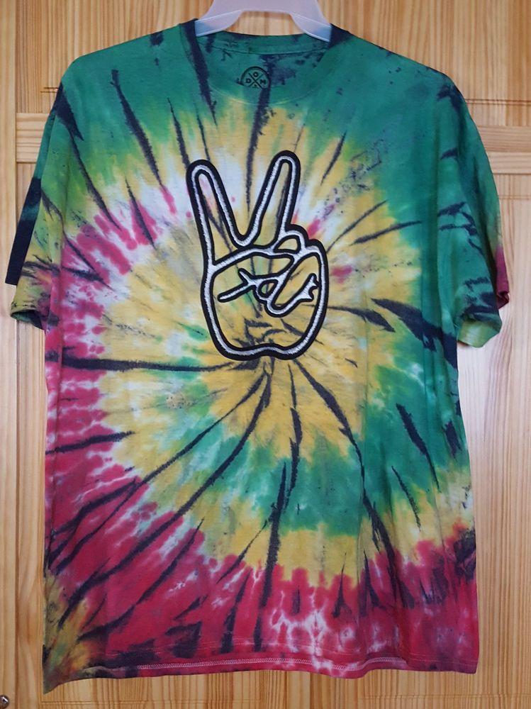 0c5cb2f34ac6 Tie Dye Shirt Peace Sign Hand Hippie Jamaica Rasta Colors Mens Sizes L 2XL  3XL #DOM #GraphicTee