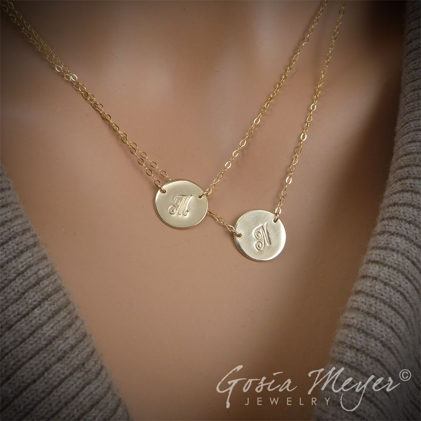Double initial circular necklace double layered initial necklace double initial circular necklace double layered initial necklace two large discs initials necklace mozeypictures Images