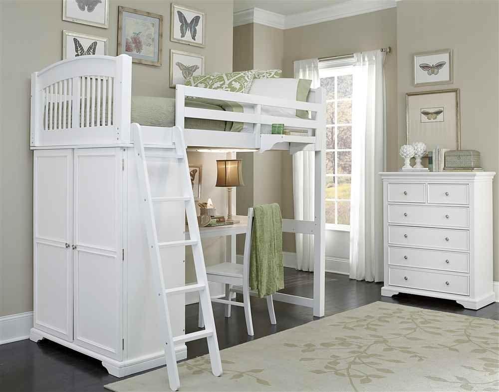 Amazon Com Loft Bed With Desk In White Home Kitchen Krovati