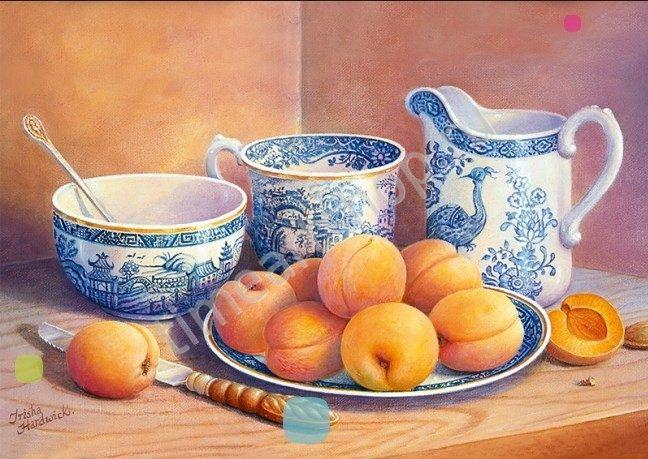 Натюрморт с персиками, картина-раскраска по номерам на ...