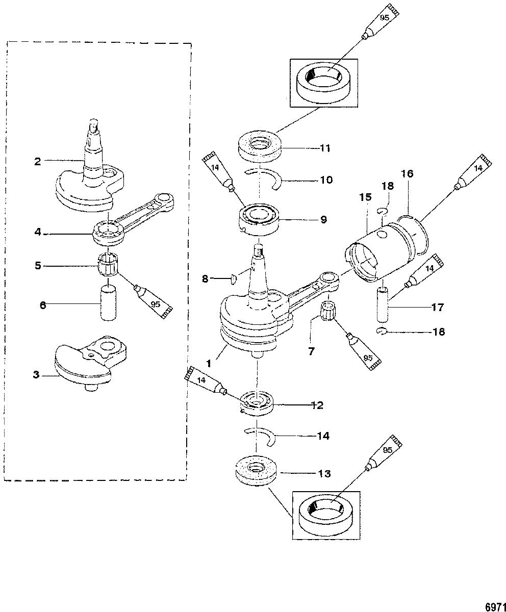 MERCURY/MARINER 2/2.5/3.3HP 2-STROKE Crankshaft and Piston