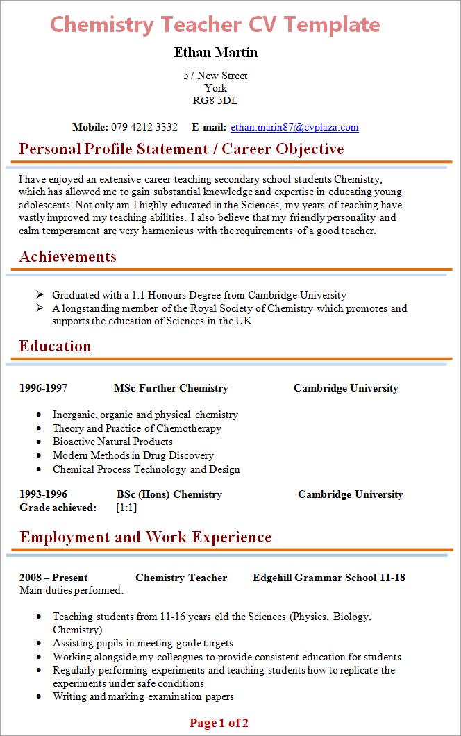 Cv Template Chemistry Resume Format Teacher Cv Template Teacher Cv Teacher Resume