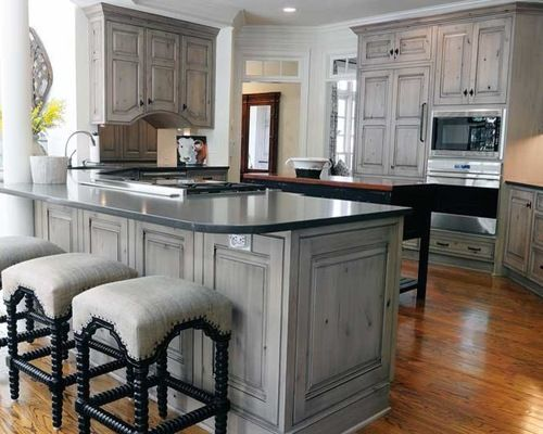 Gray stained washed hickory cabinets house pinterest for Grey wood kitchen cabinets