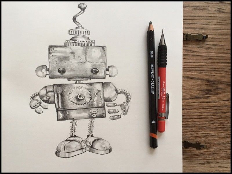 Best Of Steampunk Pencil Drawings Robots Drawing Robot Painting