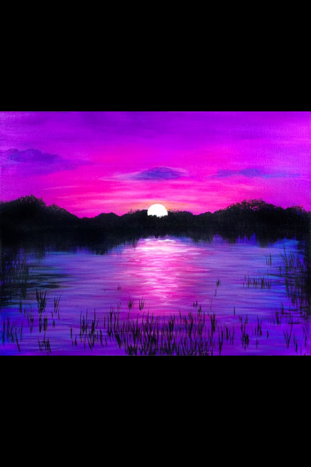 Purple Sunset Across The Lake Painting Idea Art