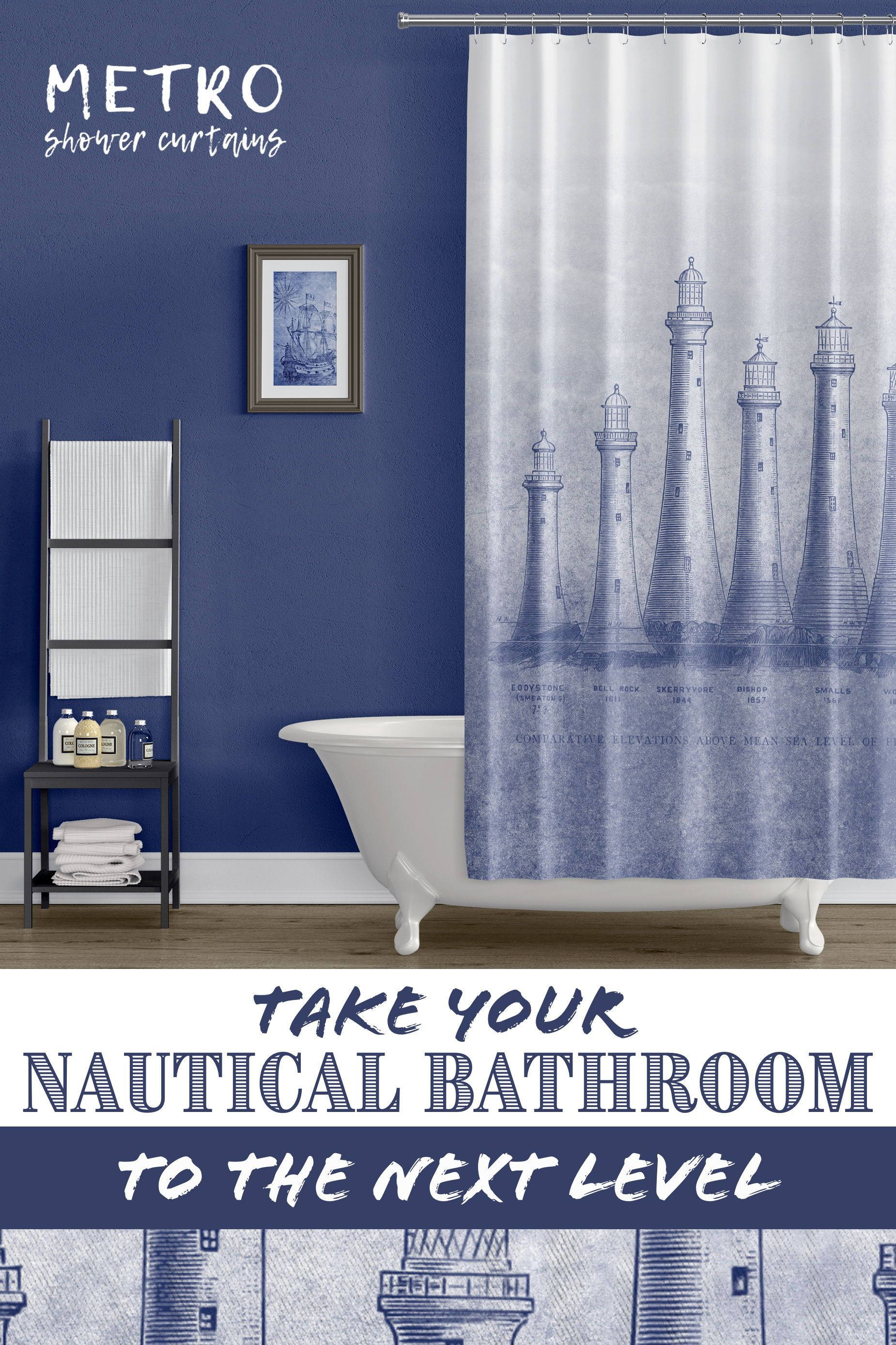 British Lighthouses In Blue Shower Curtain Blue Shower Curtains Nautical Bathrooms White Bathroom Designs