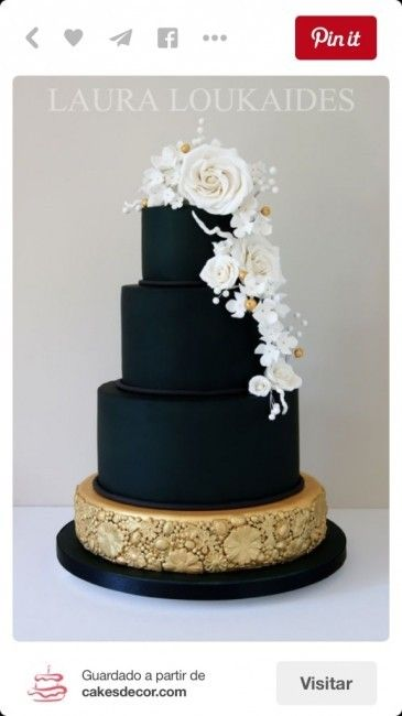 Bolos Branco Preto E Dourado 1 Bolo De Casamento Branco