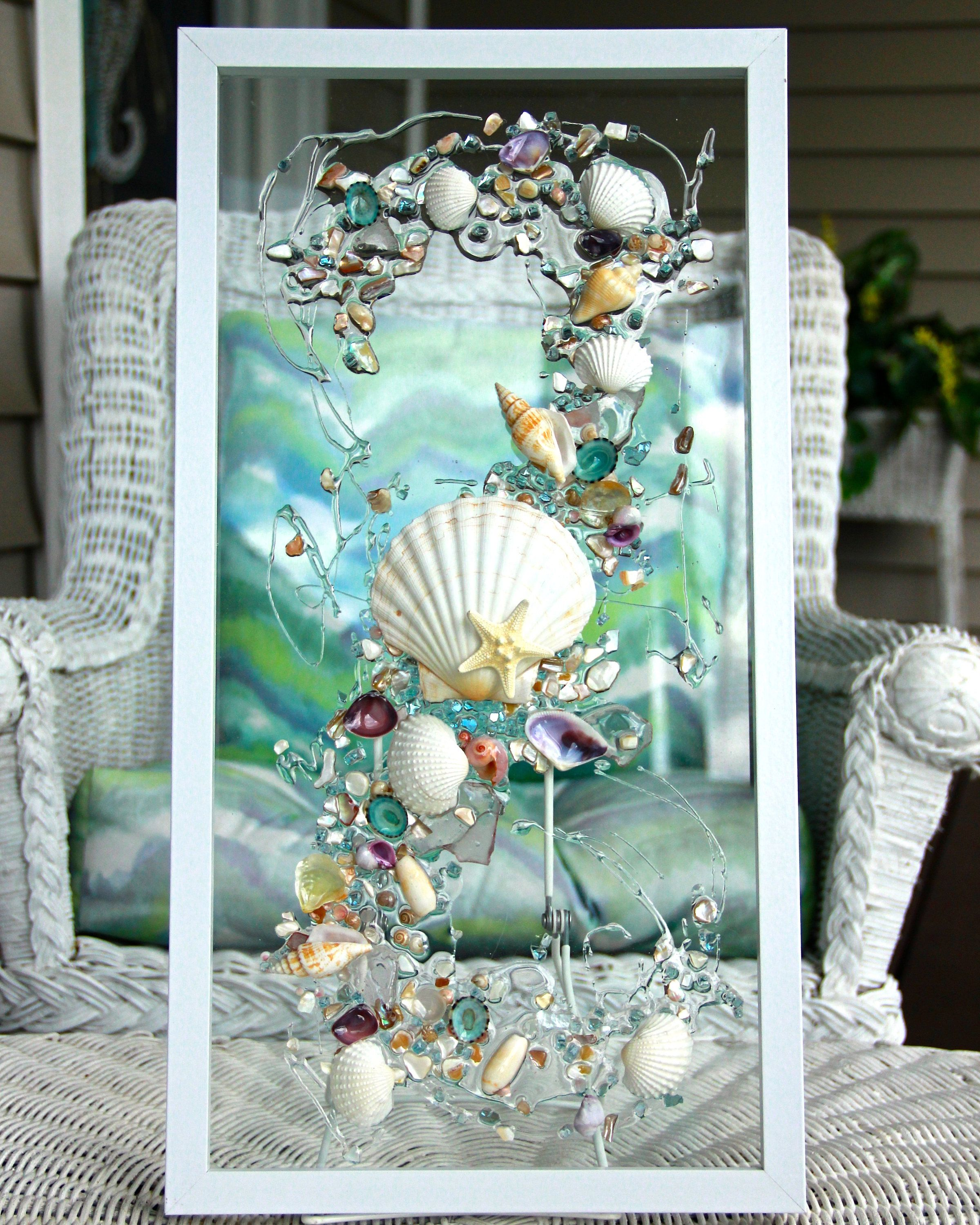 Sea Glass Wave Wall Hanging, Beach Glass with Shells, Shell Art for Beach  Decor