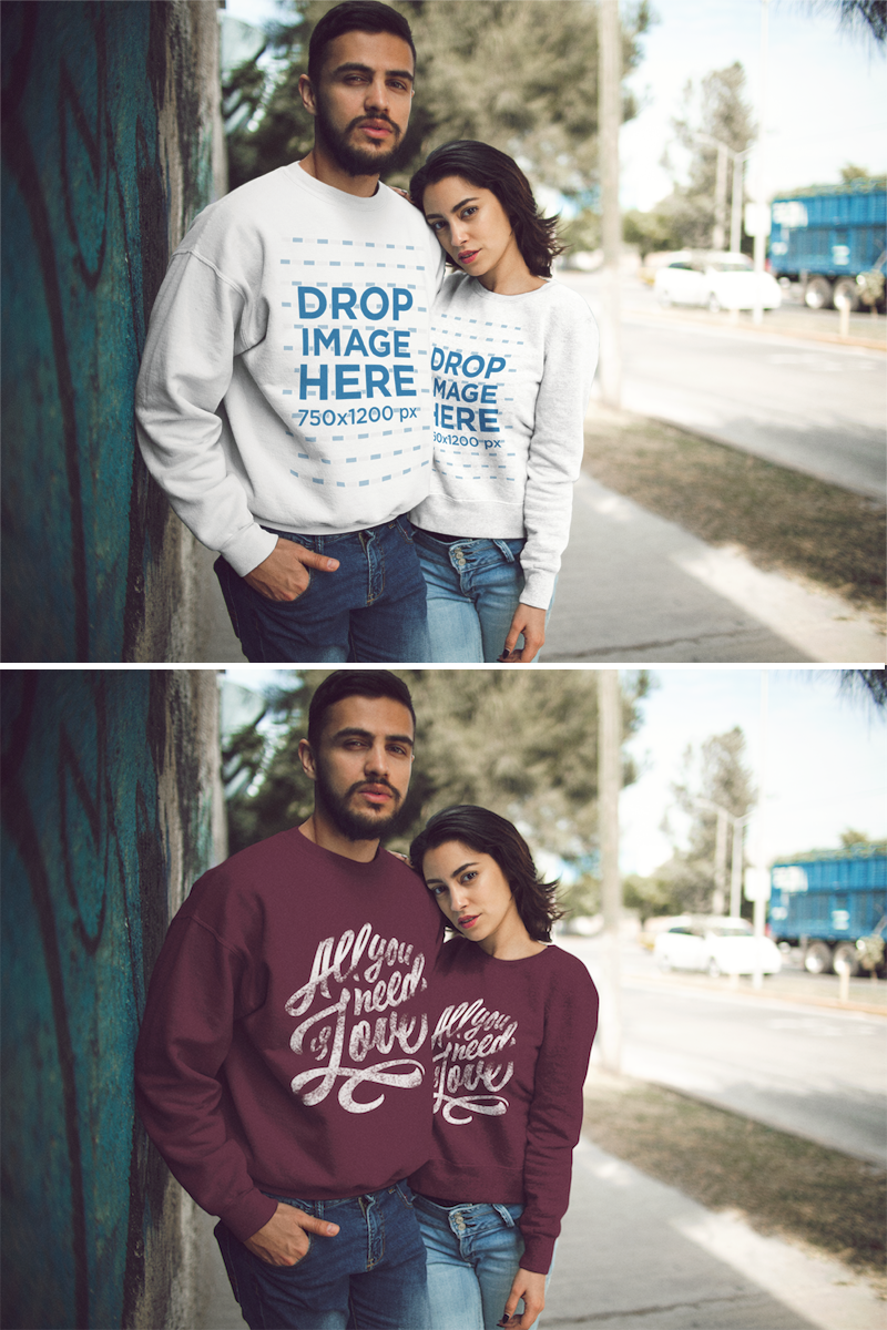 Download Placeit Mockup Of A Couple Wearing Different Crewneck Sweatshirts Designs While Hugging Outdoors Sweatshirts Sweatshirt Designs Crew Neck Sweatshirt