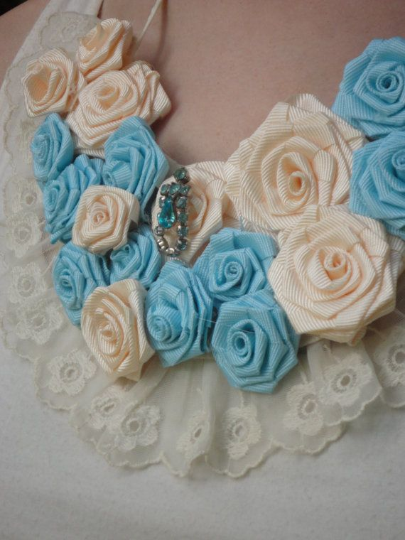 Aqua Blue Flower Necklace Statement Roses by RosesForClementine, $36.00  pretty