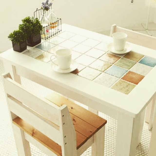 Taeshin Shin Mini Dining Table Ceramic Tiles 420 Beautifully