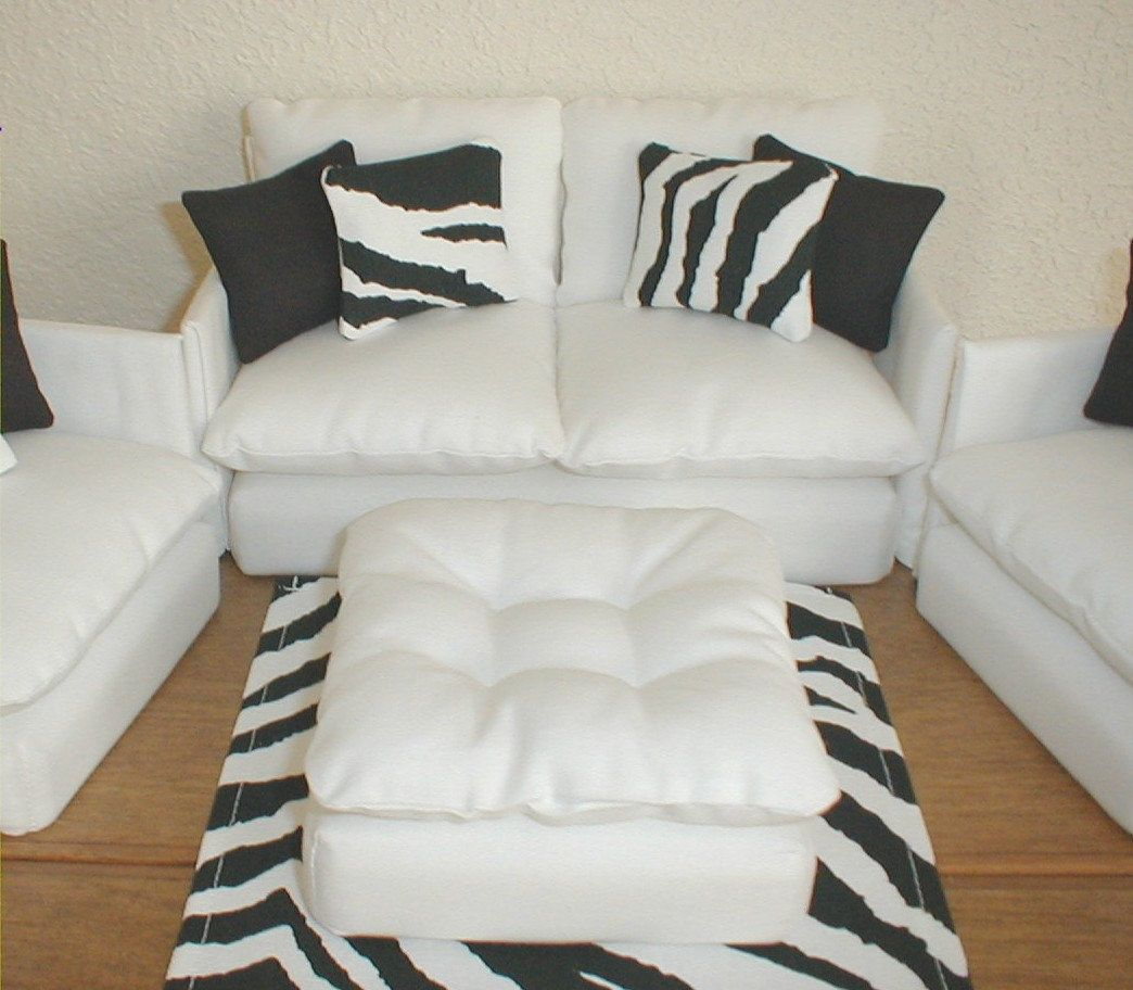 Barbie Furniture Living Room Set White with Zebra / Black Monster ...