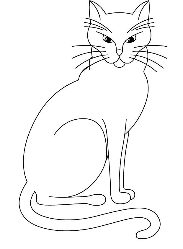 Big Cat Who Is Angry Coloring Page | Cat and Dog drawings ...