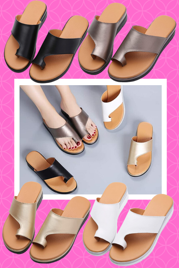 Bunion Sandals for Women Comfy Bunion Corrector Platform Shoes BSP-2 Genuine Leather Women Flip-Flop Light Weight Ladys Shoes Wedge Sandals Black Gold Brown White