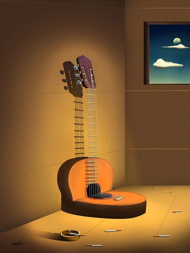 Сюрреализм с гитарой картинки