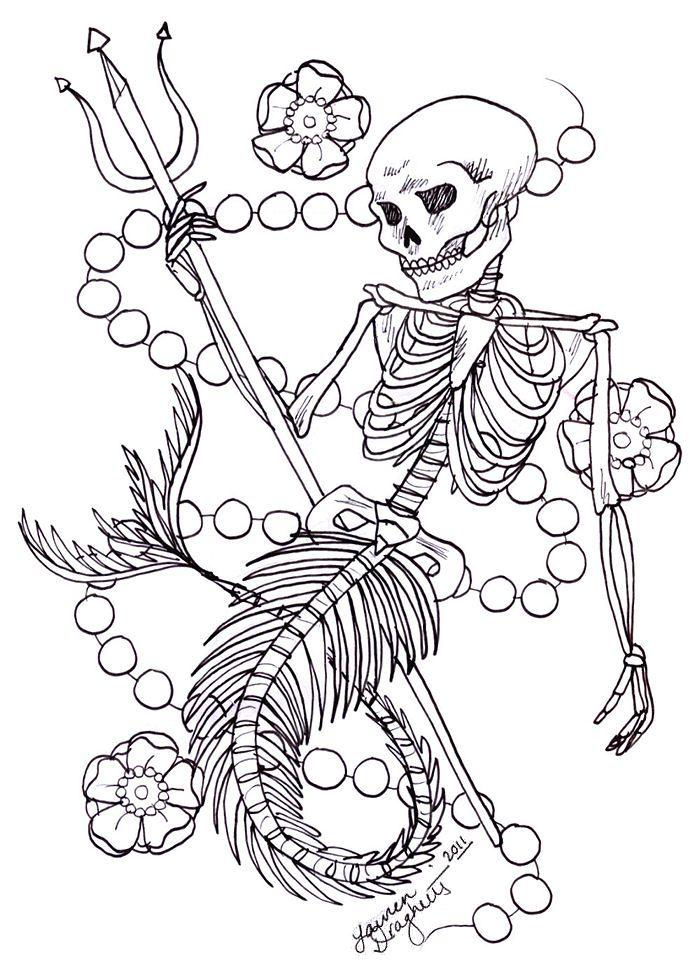 Skeleton Mermaid Tattoo Design By Lauren Draghetti On Deviantart