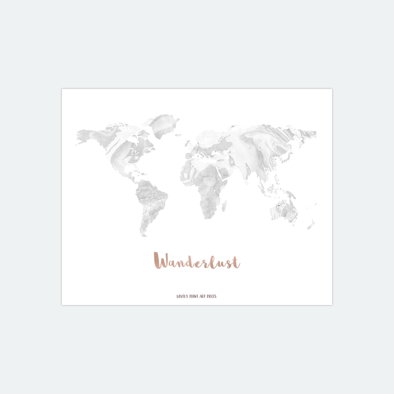 Weltkarte poster spruch wanderlust modern minimalistisch mamor grafik schrift gold wanddeko - Wanderlust geschenke ...