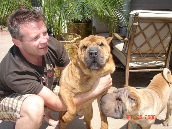 Me with Rinkles and Lily.  Shar Pei.