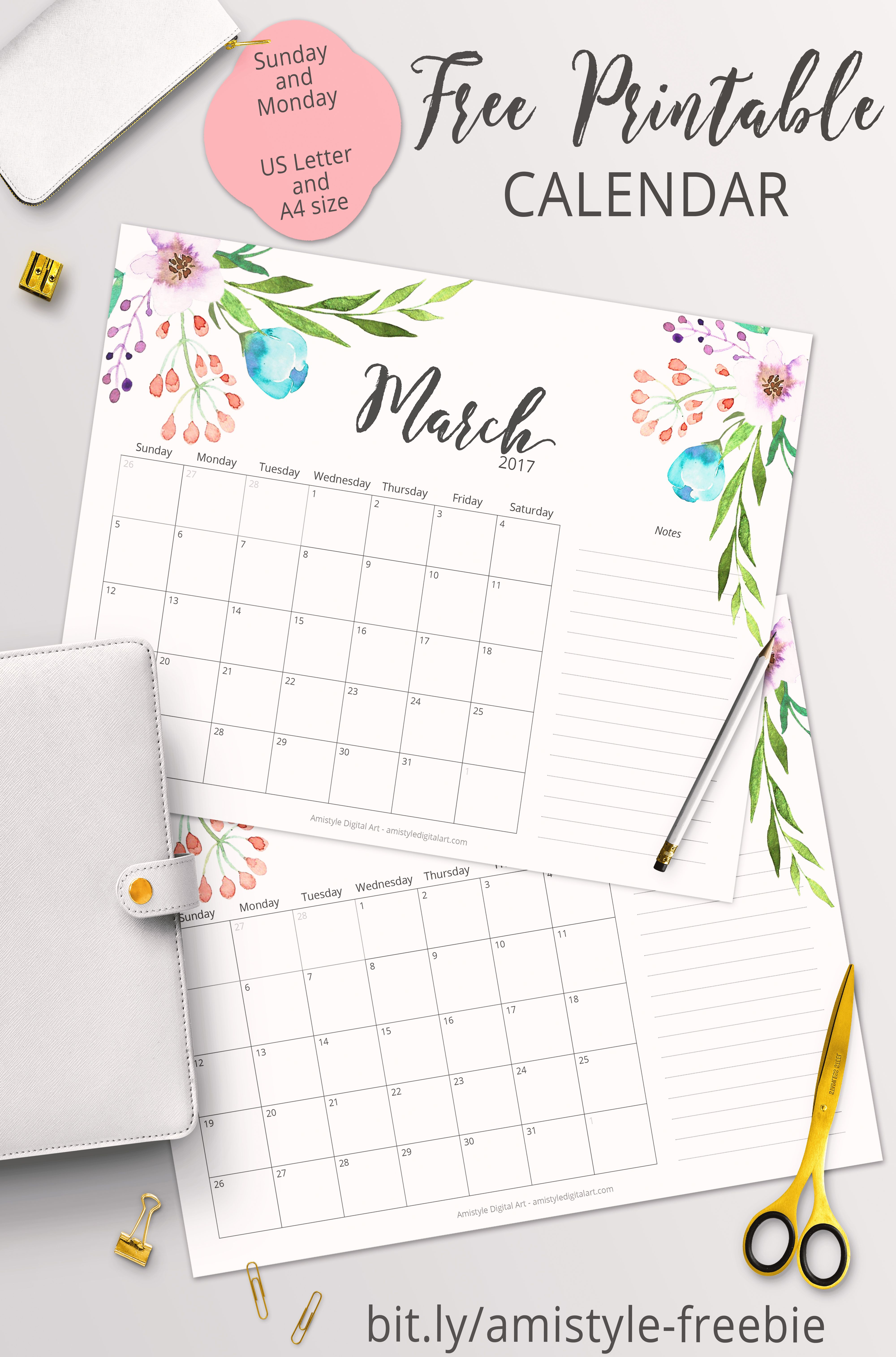 printable calendars for a more floral 2017 printable calendars