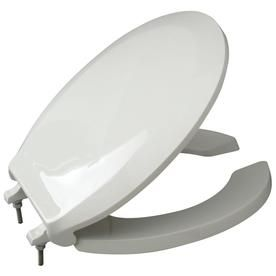 Zurn Round White Open Front Toilet Seat With Cover And