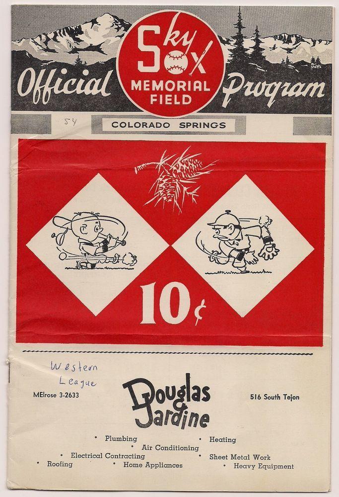 Rare And Authentic 1954 Colorado Springs Sky Sox Program And