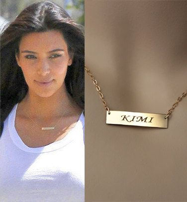 designs necklace personalized gold bar product thin plated detail jewelry silver minimalist chain matte in