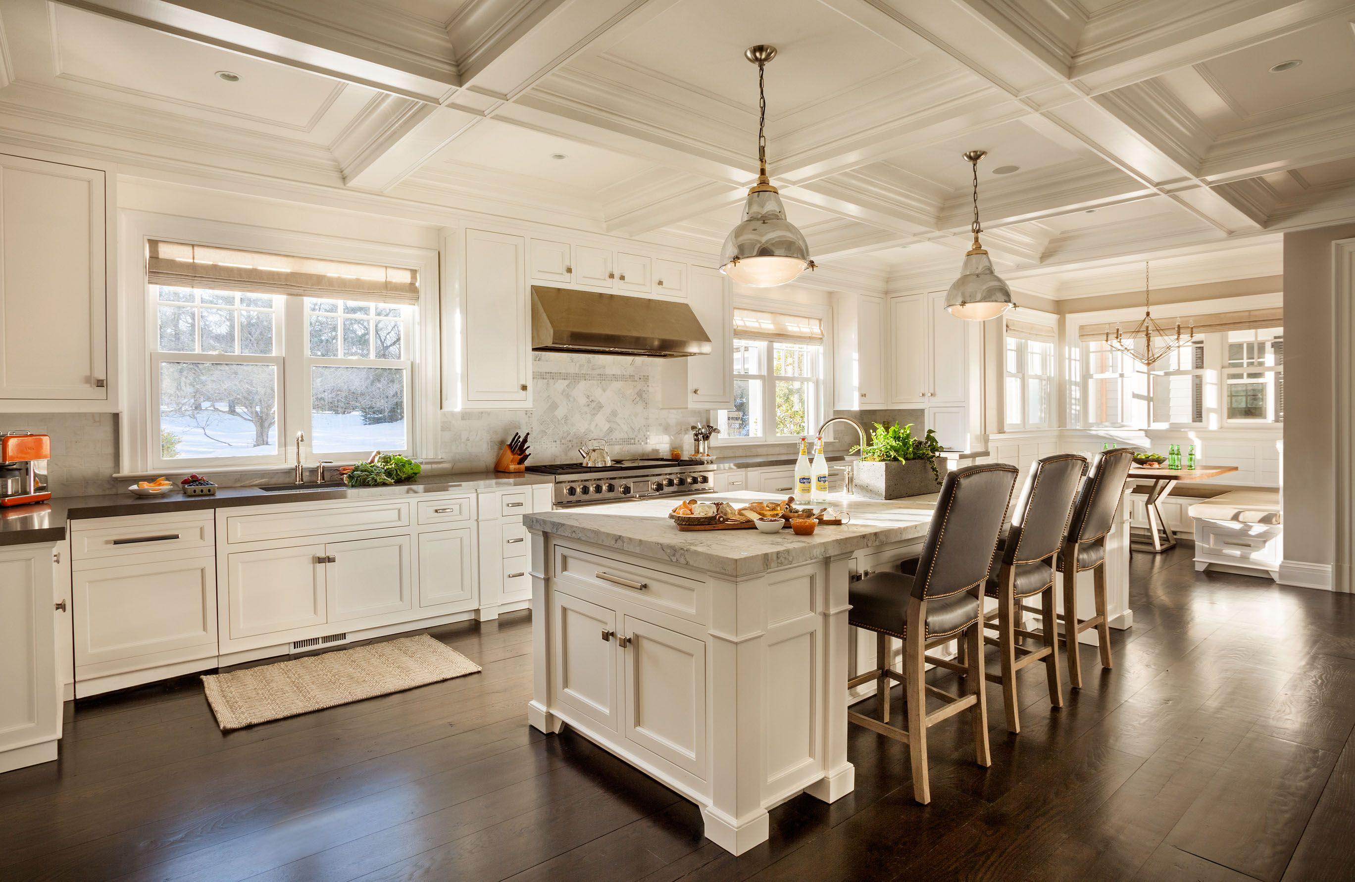 Bright Traditional White Kitchen Cabinet Yellow Island Pendant ...