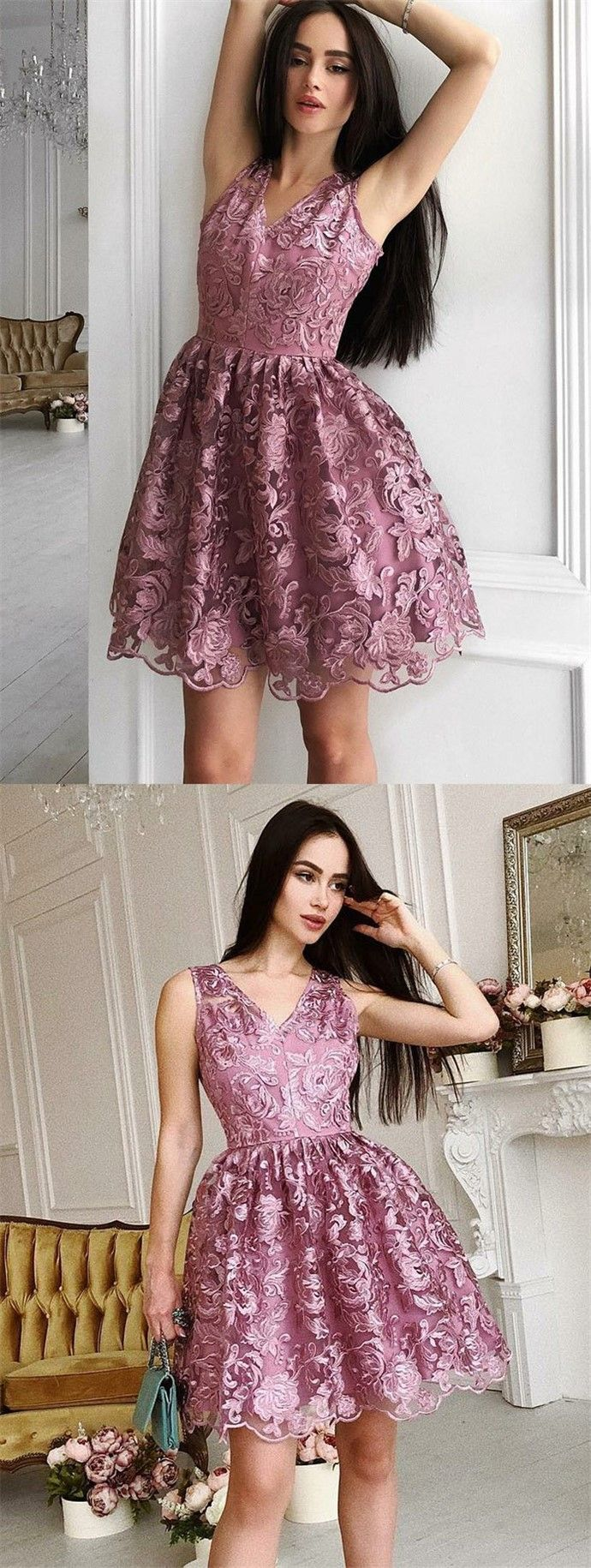 Aline vneck short purple lace homecoming prom party dress summer