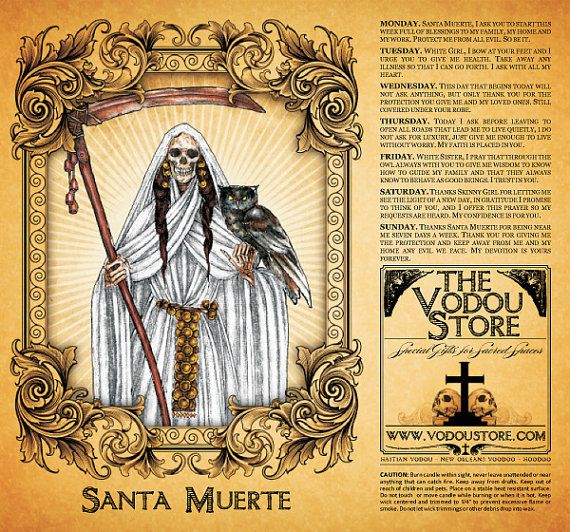 Santa Muerte 7-Day Candle Label - WHITE | Wicca | Candle labels
