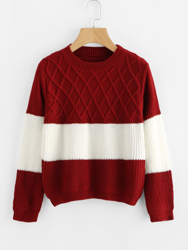 70c1a32aa Color Block Texture Knit Sweater
